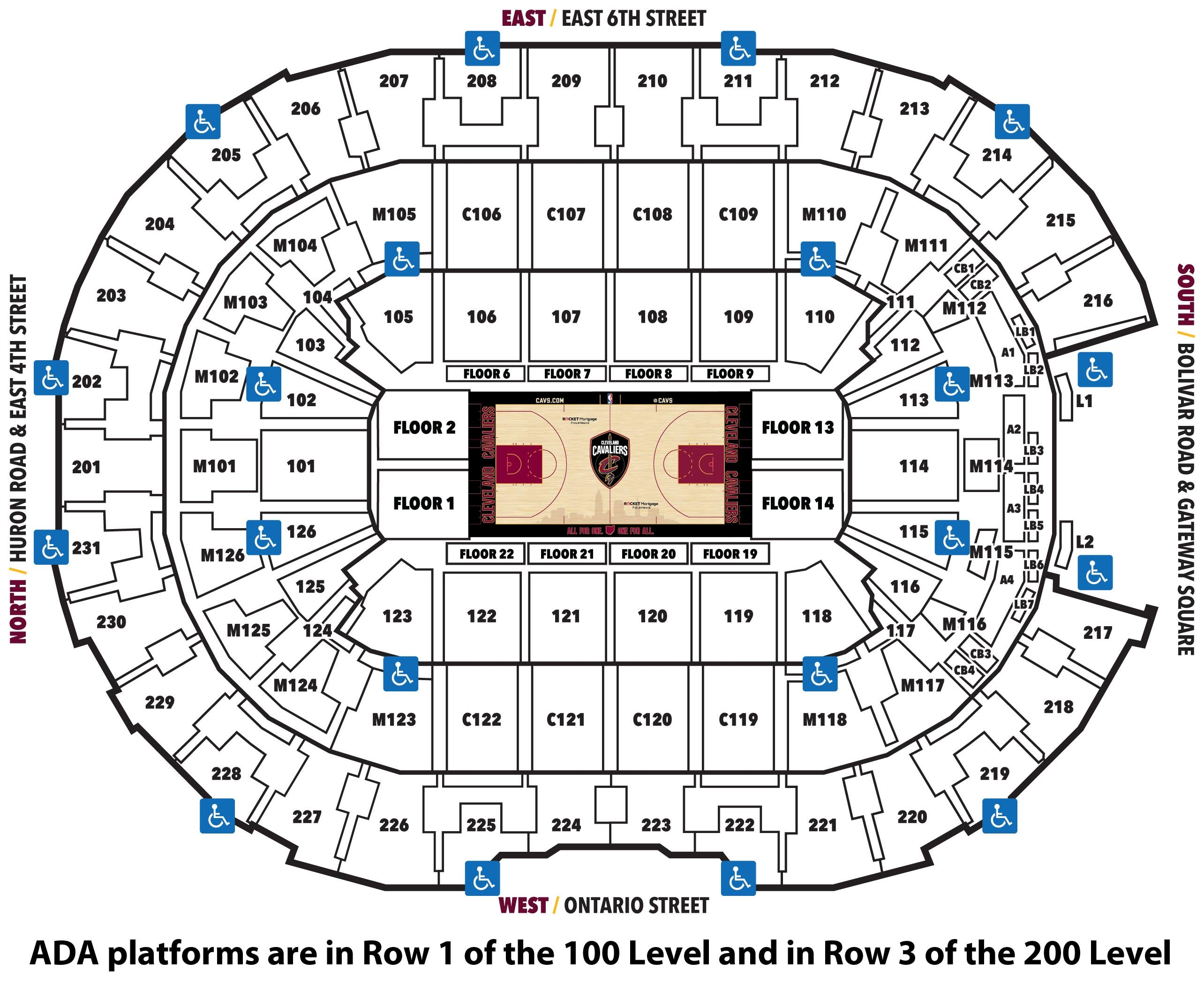 Cleveland Cavaliers ADA Seating Map - 2019-20