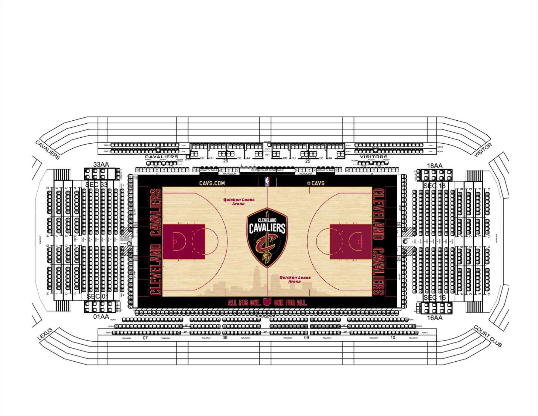 Cavs 2018-19 Floor Seating