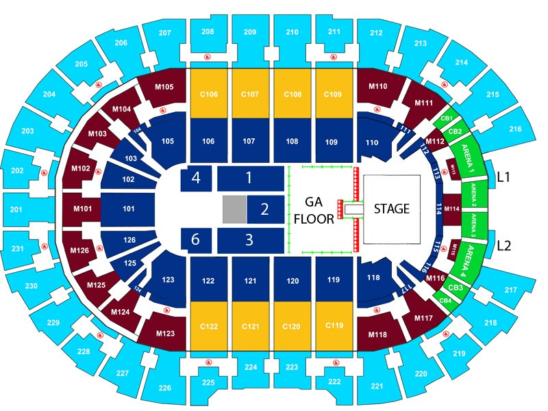 The 1975 | Rocket Morte FieldHouse Quicken Loans Arena Seating Map on pnc bank arts center seating map, the kent stage seating map, gila river arena seating map, san diego sports arena seating map, santander arena seating map, von braun center seating map, bbt center seating map, royal farms arena seating map, cox convention center seating map, cow palace seating map, red bull arena seating map, allen event center seating map, john paul jones arena seating map, jacksonville veterans memorial arena seating map, independence events center seating map, mohegan sun arena seating map, utc mckenzie arena seating map, value city arena seating map, veterans memorial coliseum seating map, jacobs pavilion seating map,