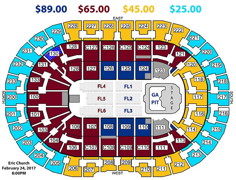 Quicken Loans Seating Chart Eric Church What Seats Are