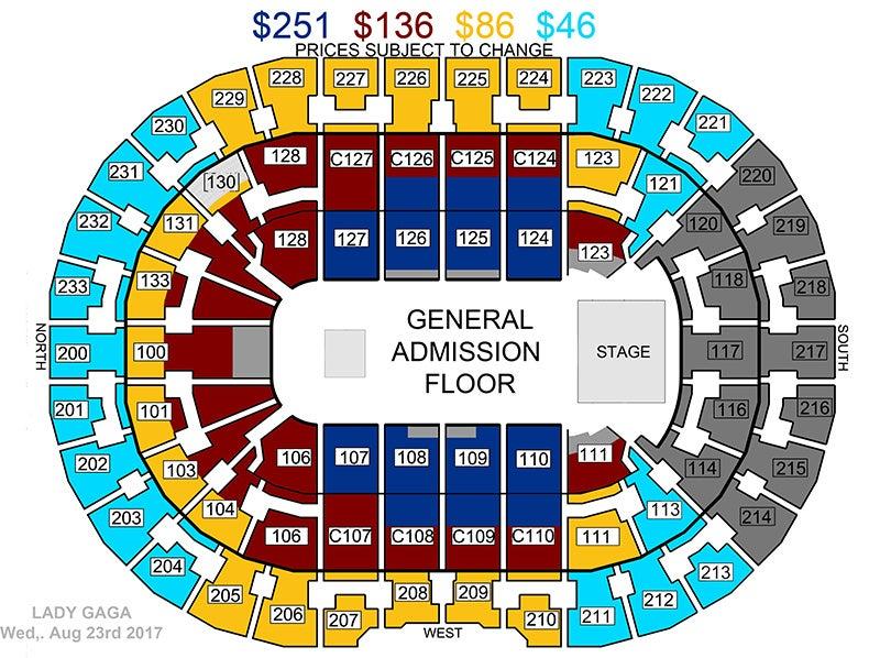 Lady Gaga Joanne World Tour Seat Map