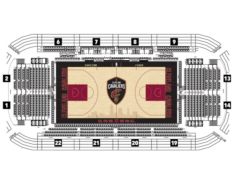 Cleveland Cavaliers Floor Seating Map - 2019-20