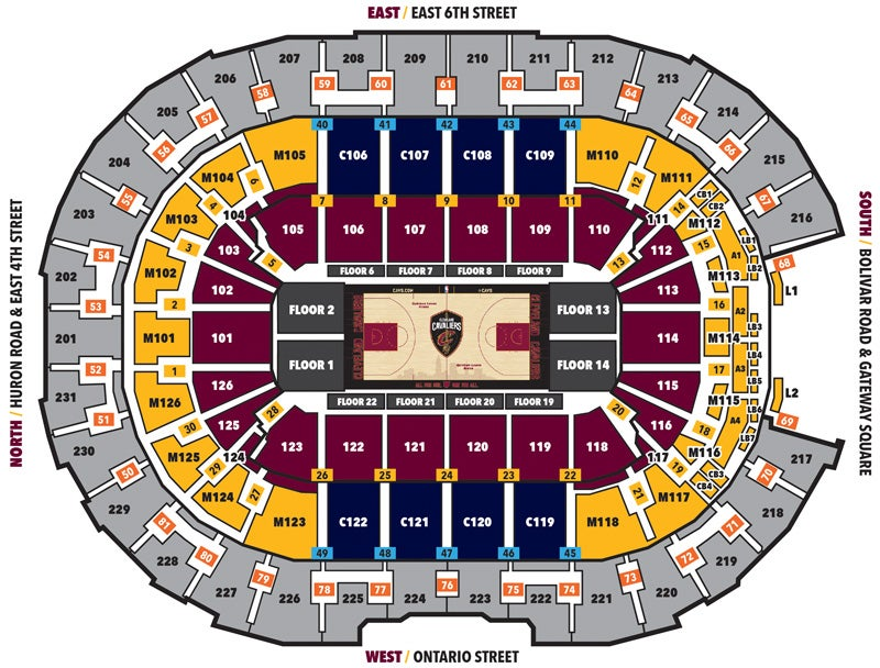 Cleveland Cavaliers Seating Map - 2019-20
