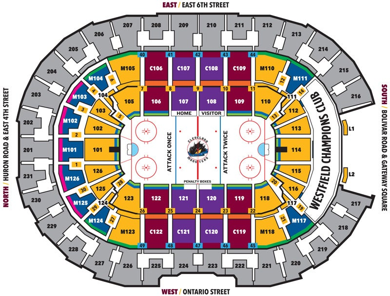 Cleveland Monsters Seating Map - 2019-20